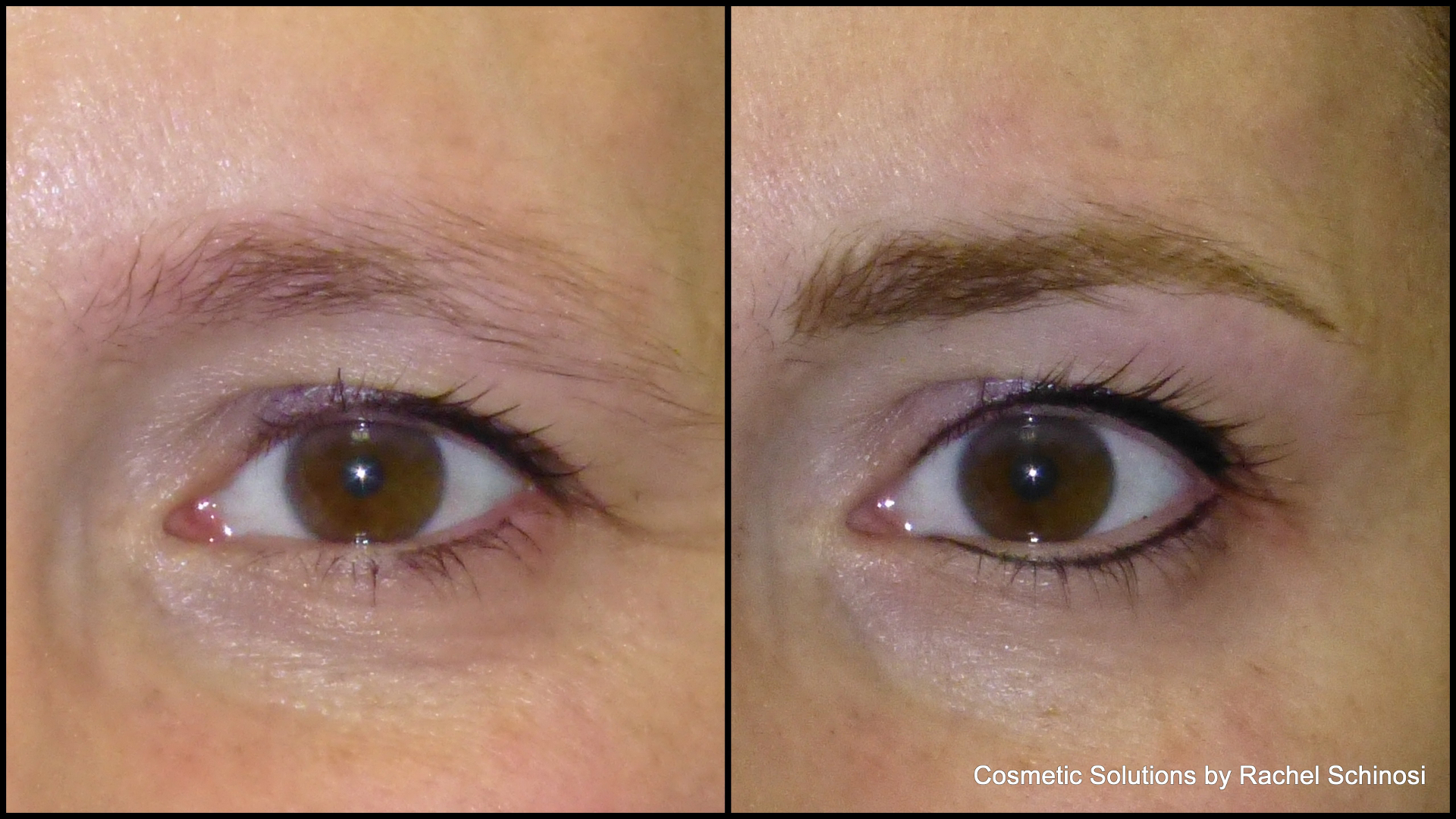 permanent eyeliner and permanent eyebrow before and after